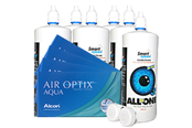 Air Optix Aqua Sparpaket 4x6er Monatskontaktlinsen + Kontaktlinsenpflege