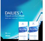 Halbjahrespaket Tageslinsen Dailies aqua 8x90 Linsen + 2 Fl. 15 ml Augentröpfchen