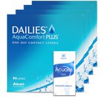 Halbjahrespaket Tageslinsen Dailies auqa 4 x 90 Linsen + 1 Fl. 15 ml Augentröpfchen / Augenpflege