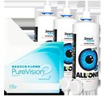 Halbjahrespaket PureVision 2 HD Monatslinsen und Kontaktlinsenpflege